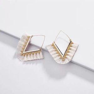 NWOT Anthro Tassels Earrings in Cream
